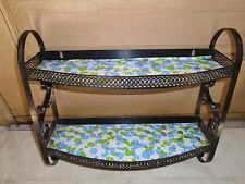 VINTAGE WALL SHELF BLACK METAL 2 TIER BATHROOM KITCHEN  w/TOWEL BAR