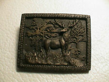ELK IN A FOREST OF TREES GUN HUNTING MENS SOLID BRASS BELT BUCKLE PREOWNED