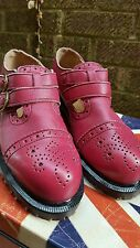 BNWOB Dr Martens Made in England Red Leather  Double Buckle Ladies Shoes. size 4