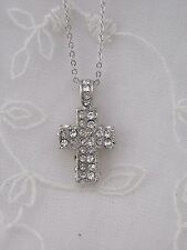 Silver Cross With Crystal Necklace Square Boxy Fashion Jewelry NEW