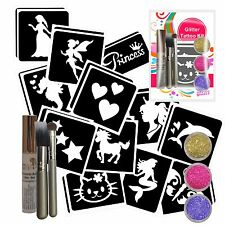 GIRLS GLITTER TATTOO KIT- 24 Stencils, 3 Glitter, Glue & Brushes - Parties/Gifts