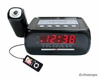SUPERSONIC PROJECTOR PROJECTION ALARM CLOCK RADIO w/ AUX INPUT JACK SC-371 NEW