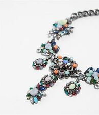 BNWT ZARA COLLIER PLASTRON CRISTAL MULTICOLOR NECKLACE CRYSTAL GEM STONES