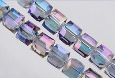 50pcs Loose Purple Colorized Glass Crystal Faceted Cube Beads 6mm Spacer Crafts