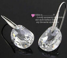 Stunning 18ct 18k White Gold Plated Clear Crystal Dangle Drop Earrings New -20