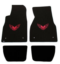 NEW! BLACK FLOOR MATS 1993-2002 FIREBIRD Embroidered Logo in RED 4 pc SET