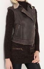 NWT Burberry Brit Moto Brown Cognac Shearling Leather Jacket Vest SM US 2 $1495