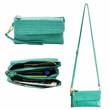 Leather Wristlet Wallet Clutch Card Slot holder Shoulder Strap Cellphone Mint