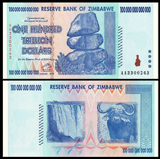 Zimbabwe 100 TRILLION Dollars 100000000000000  AA- 2008 Pick-91 UNC