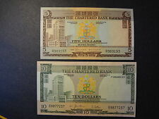 HONG KONG 1977 CB10 DOLLARS, 70-75 CB 5 DOLLARS, 2 NOTES (B), CHOICE AU++ !