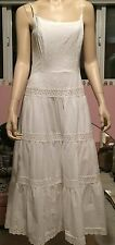 White dress Eyelet Lace S midi fit n' flare 6 beach wedding tier corset top