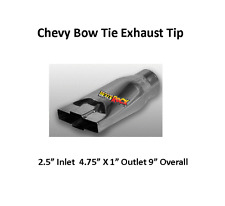 """Brand New Polished Stainless Chevy Bow-Tie Exhaust Tip 2 1/2"""" IN 4 3/4 X1"""" Out"""