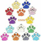 Pet ID Tag LARGE 32mm TAGS, Reflective Glitter Dog Paw Design, ENGRAVED OPTIONS