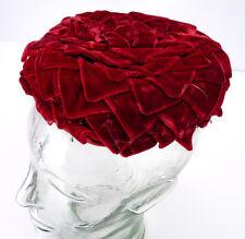 Vintage 50s 60s Dark Red Rose Velvet Layered Petals Round Pillbox Hat