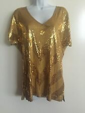 Michael Kors Womens Gold Sequin S/S V-Neck Top Blouse Size M SALE