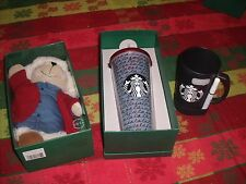 LOT: NEW HOLIDAY STARBUCKS 2016 BEARISTA BEAR 24 OZ COLD and CHALK CUP GIFT SET