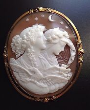 X-tra Fine Huge Antique Shell Cameo Brooch of Day and Night, Eos & Nyx