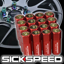 16 RED/24K GOLD CAPPED ALUMINUM 60MM EXTENDED TUNER LUG NUTS WHEELS 12X1.5 L16