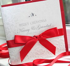 Personalised Handmade Christmas Card Lace Satin by Charlotte Elisabeth X001