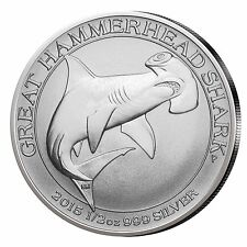 2015 Australian Great Hammerhead Shark 1/2 Oz .999 Fine Silver Coin Light Spot
