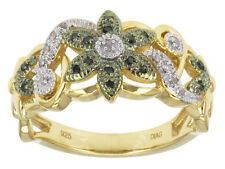 .10ctw India Green Diamond™ 14k Yellow Gold Over Sterling Silver Ring size 6