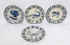 4 Davis Design Salad Plates Lobster Crab Oyster Shell Fish Eastern Shore Plates