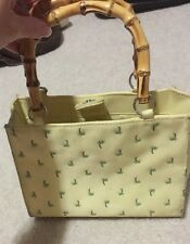 Yellow  Palm Tree Pattern Tote Shoulder Bag Purse Double Hoop Bamboo Handles