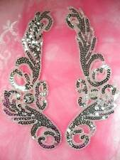 JB253 Sequin Applique Silver Beaded Mirror Pair Dance Patch 9""