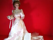 "GIBSON GIRL PORCELAIN BRIDE DOLL FRANKLIN HEIRLOOM 23"" WEDDING FIGURE BOUQUET 87"
