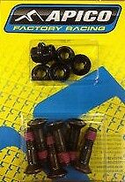BLACK Rear sprocket bolts & nuts -Apico - CR YZ RM KX CRF YZF RMZ KXF MOTOCROSS