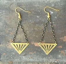 Anthropologie Triangle Brass & Gold Plated Black Chain Dangle Earrings Shevron