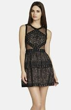 NWT BCBG MaxAzria Joselyn Cocktail illusion Peplum dress, Black ,12  $368.00