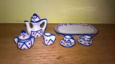 Miniature Ceramic Tea Set Dolls House / Ornament /collectibles/ blue red