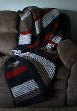 Dark Gray, Light Gray, Barley and Cranberry Color Full-Size Afghan / Blanket