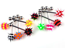 10pcs/lot Wholesale Silicone Tickler Koosh Ball Tongue Ring 16g Surgical Steel