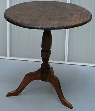 CIRCA 1910 HAND FLORAL CARVED LIBERTY LONDON ARTS AND CRAFTS SIDE TRIPOD TABLE