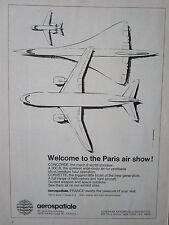 5/1973 PUB AEROSPATIALE CONCORDE AIRBUS A300B CORVETTE PARIS AIRSHOW ORIGINAL AD