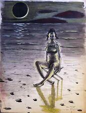 """Alexis Kalaeff, """"Au clair de la lune"""", encre, plume, lavis et gouache, Paris"""