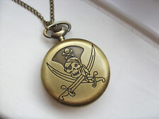 Very Unusual Large Pirate Skull Bronze Necklace Watch