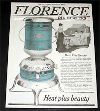 1919 OLD WWI MAGAZINE PRINT AD, FLORENCE OIL HEATERS, FOR HEAT PLUS BEAUTY, ART!