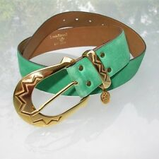 Louis Feraud Vintage 80's Green Suede/Leather Belt Set size 72-82 Excellent !
