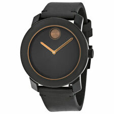 New Movado Bold Black Dial Black Leather Strap Mens Quartz Watch 3600297