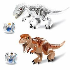 2 sets Jurassic World Park Tyrannosaurus Rex Dinosaur Building Toy Minifigure S3