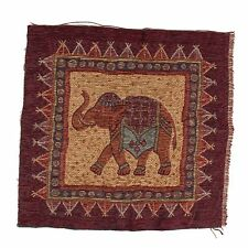 "Chenille Elephant Upholstery Fabric Vtg Lee Jofa India Pillow Tapestry 19"" Sq"