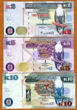 SET, Zambia, 2;5;10 Kwacha, 2012 (2013), P-New, UNC   New Revalued Currency