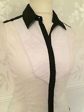 Karen Millen White Shirt Black Detail Blouse Top UK 12