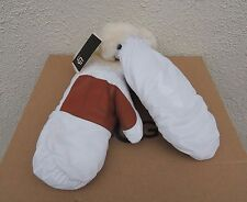 UGG WHITE NYLON SHEARLING CUFF LEATHER PALM MITTENS ~WOMENS L/ XL ~ NWT