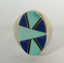Size 11 Ring Navajo Blue Turquoise Lapis Inlay .925 Sterling Silver Mens Jewelry
