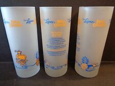 """Lot of 3 COCO LOPEZ Frosted Pina Colada  6"""" Tall Cocktail Glasses With Recipe"""