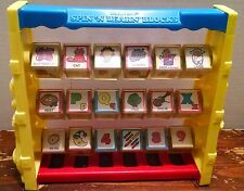 VINTAGE SPIN N LEARN BLOCKS  Alphabet Numbers Shelcore 1987 80s toy educational